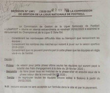 Ligue 2/zone Est: Bukavu abritera tous les matches retour