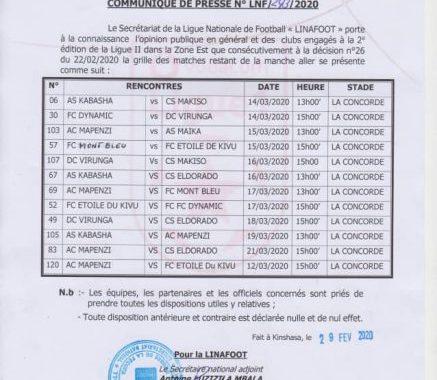 Ligue 2/Est : Les dates de reprise et clôture de la phase aller connues