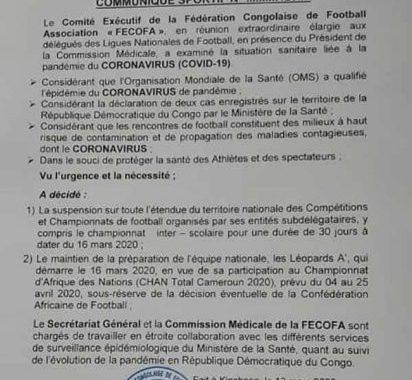 La FECOFA suspend tous les championnats pour 30 jours