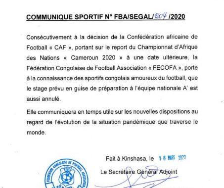 Le CHAN reporté, la FECOFA annule le stage des Léopards A'