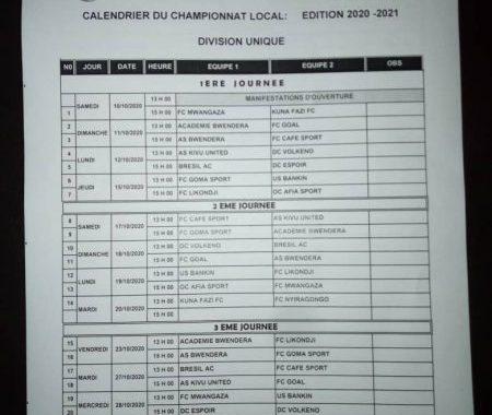 Goma : Le championnat local reprend ses hostilités le 10 octobre (Officiel)