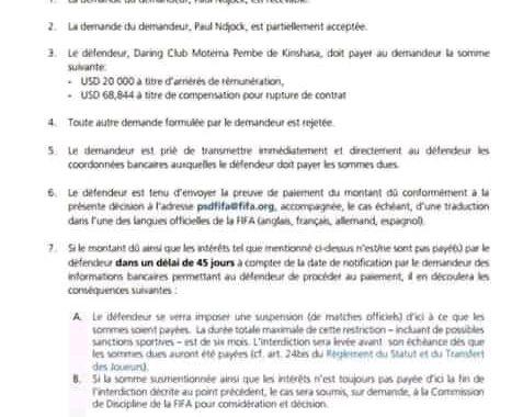 Le DCMP de nouveau sanctionné et encourt 10 mois de suspension