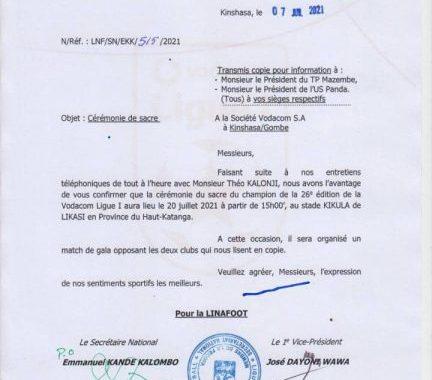 Ligue 1/RDC : la cérémonie du sacre prévue le 20 juillet