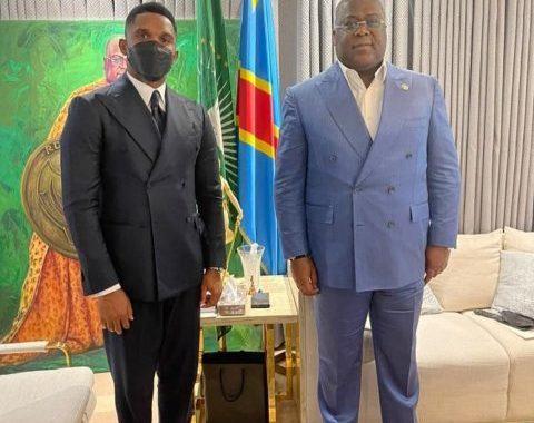 L'ancienne gloire camerounaise Samuel Eto'o, reçu par le président Tshisekedi